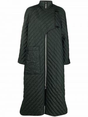 Zielony płaszcz pikowany Ganni