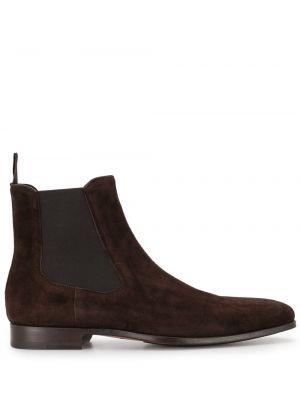 Кожаные коричневые ботинки эластичные Magnanni