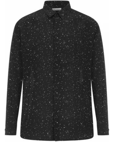 Klasyczna czarna koszula jeansowa z jedwabiu Saint Laurent