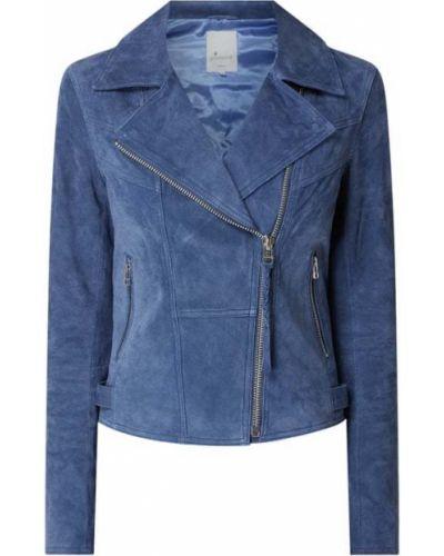 Niebieska kurtka skórzana asymetryczna Goosecraft