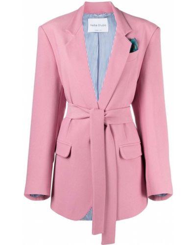 Однобортный розовый удлиненный пиджак с карманами Hebe Studio