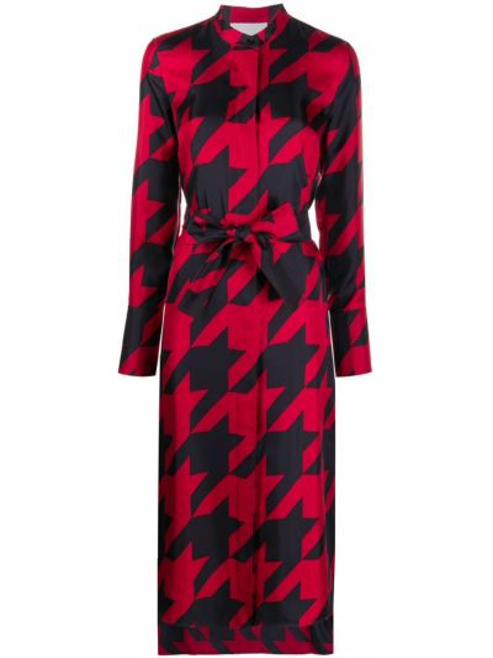 Шелковое красное платье макси с воротником Boss Hugo Boss