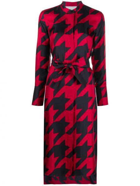 Шелковое платье макси - красное Boss Hugo Boss