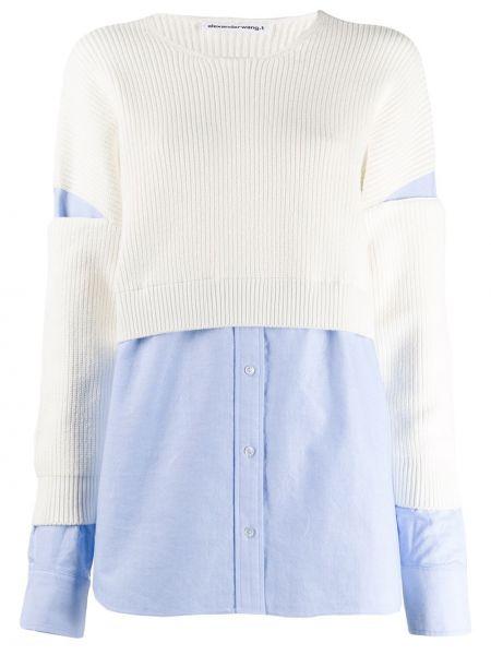 Рубашка с длинным рукавом в полоску без воротника T By Alexander Wang