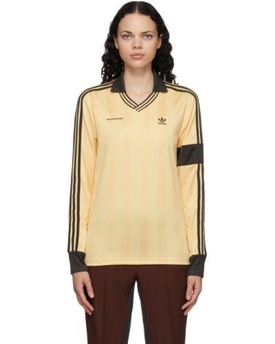 Piłka nożna brązowy koszulka polo z długimi rękawami z haftem Wales Bonner