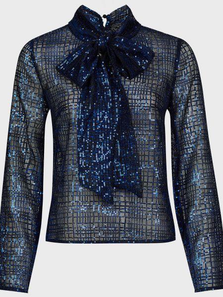Синяя блузка с пайетками на молнии Self-portrait