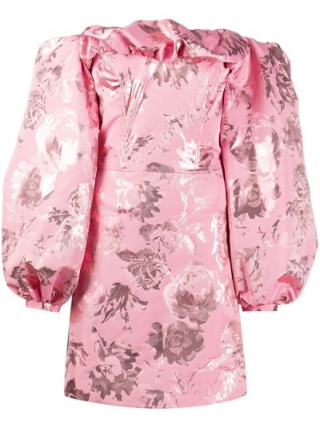 Хлопковое розовое прямое платье мини на молнии Stine Goya