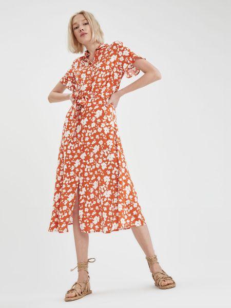 Оранжевое платье мини с поясом с воротником Defacto
