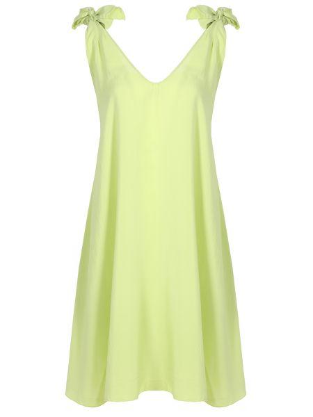 Шелковое платье миди - зеленое Fisico