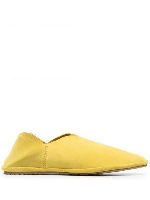 Żółte kapcie skorzane płaska podeszwa Pedro Garcia