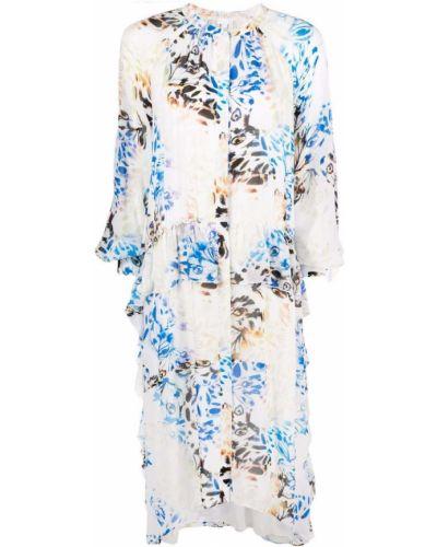Белое платье миди трапеция с оборками Lala Berlin