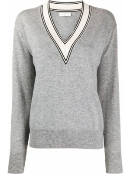 Песочный вязаный свитер с V-образным вырезом в рубчик Sandro Paris