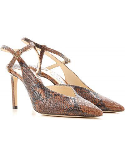 Z paskiem brązowy skórzany szpilki buty na obcasie Jimmy Choo