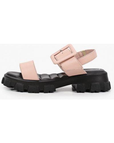 Розовые кожаные босоножки Laremo
