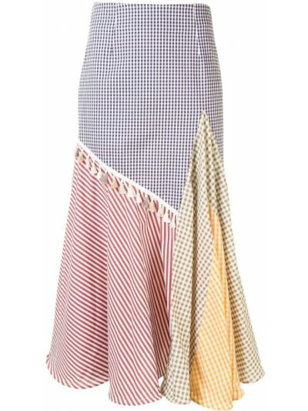 Хлопковая асимметричная юбка миди на молнии пэчворк Silvia Tcherassi