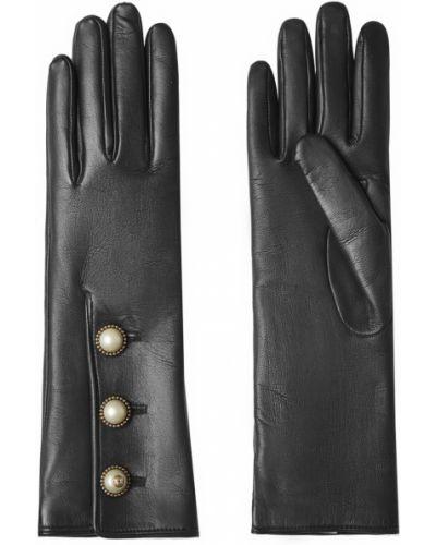 Кожаные перчатки с жемчугом Gucci