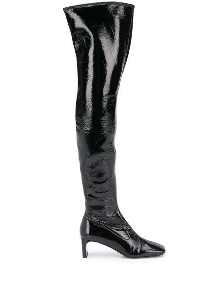 Czarny buty w połowie kolana kwadratowy plac Prada