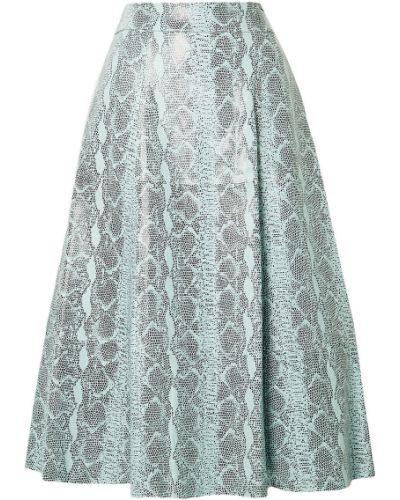Spódnica midi skórzana z printem turkusowa Alice + Olivia