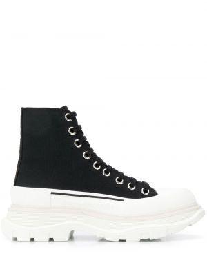 Czarne sneakersy na platformie skorzane Alexander Mcqueen