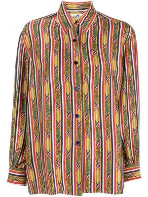 Шелковая классическая рубашка в полоску с воротником Hermes