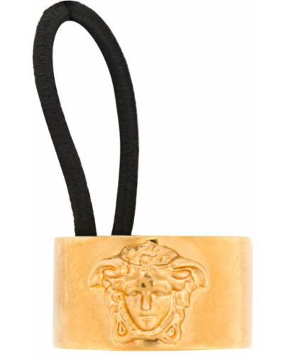 Желтая резинка для волос на резинке металлическая Versace