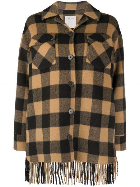 Шерстяная коричневая рубашка с манжетами на пуговицах Sandro Paris
