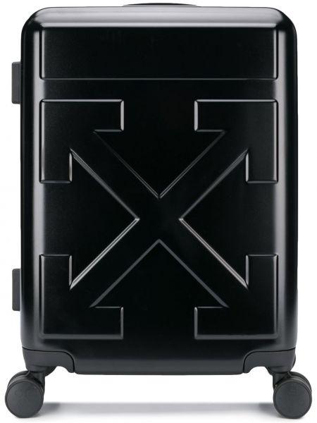 Черный чемодан на молнии с карманами Off-white