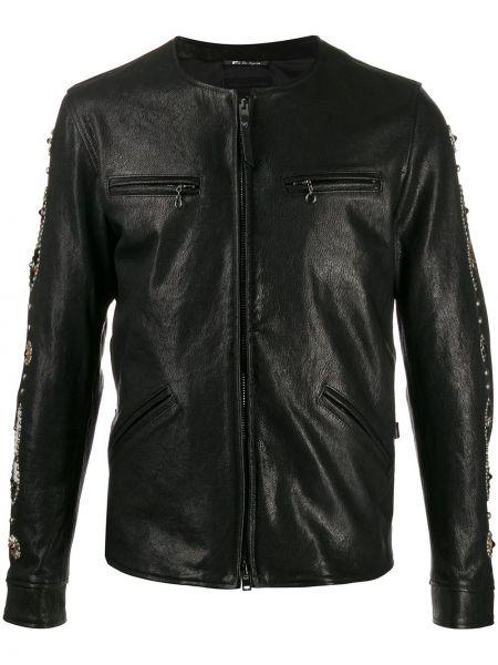 Czarna długa kurtka skórzana z długimi rękawami Htc Los Angeles