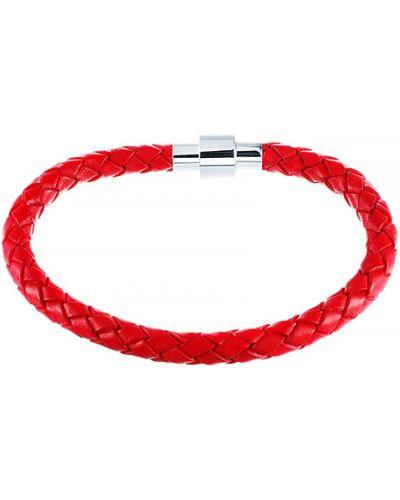 Кожаный браслет красный серебряный Element47 By Jv