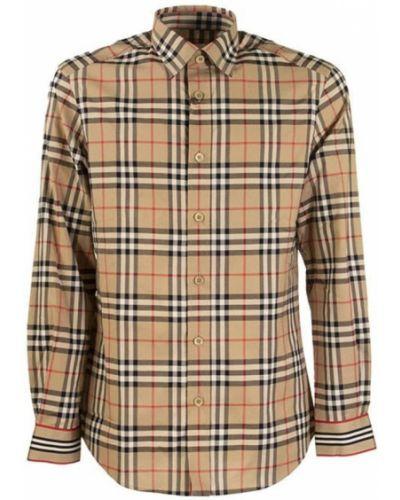 Beżowa klasyczna koszula bawełniana z paskiem Burberry