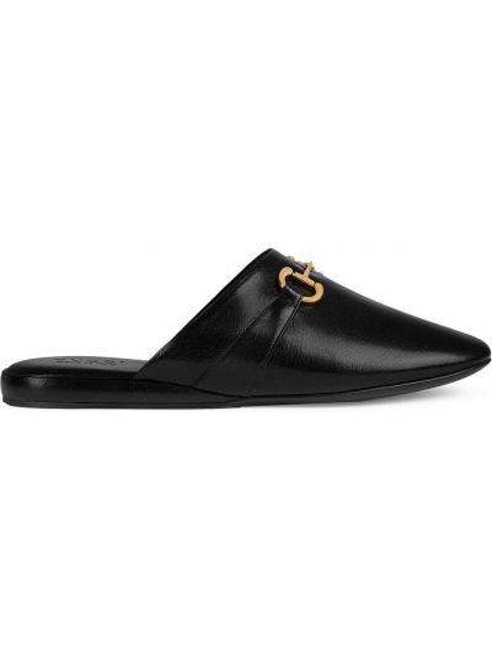 Kapcie skórzany czarny Gucci