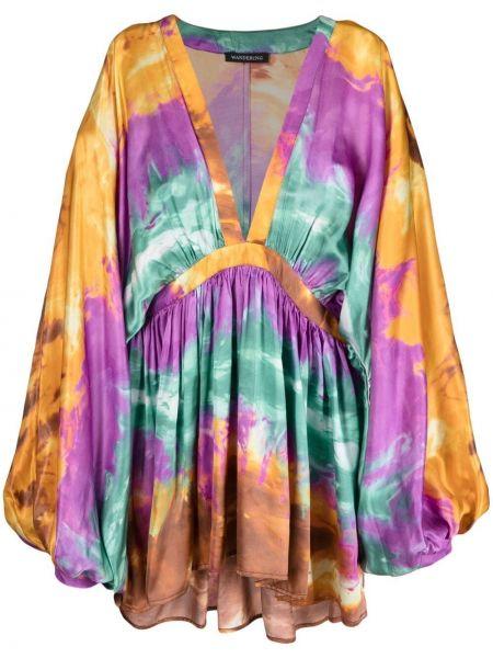Fioletowa sukienka długa z długimi rękawami z wiskozy Wandering