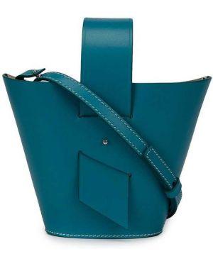 Синяя кожаная сумка круглая Carolina Santo Domingo