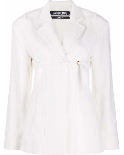 Шерстяной белый удлиненный пиджак с лацканами Jacquemus