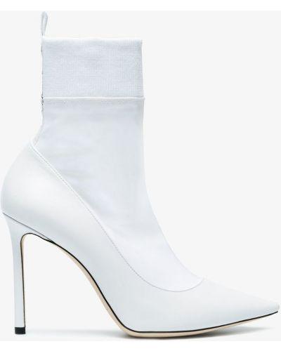 Белые кожаные сапоги Jimmy Choo