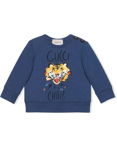 Толстовка с принтом синяя Gucci Kids