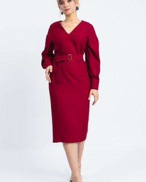 Платье с поясом бордовый на пуговицах Lacywear