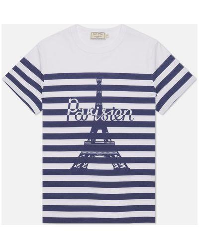 Хлопковая белая футболка в полоску Maison Kitsuné