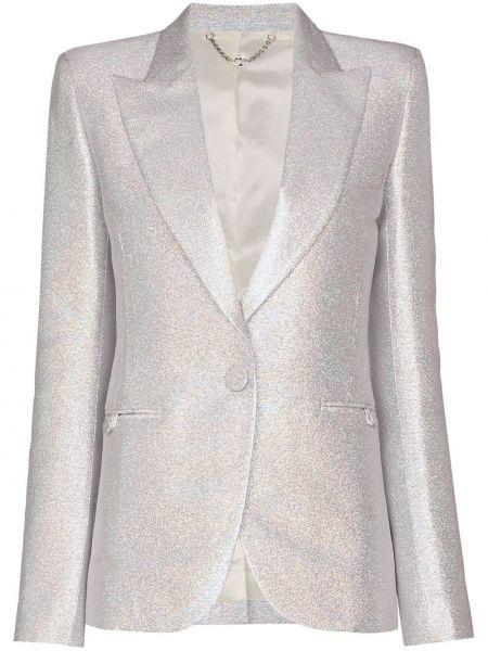 Серебряный однобортный пиджак на пуговицах Paco Rabanne