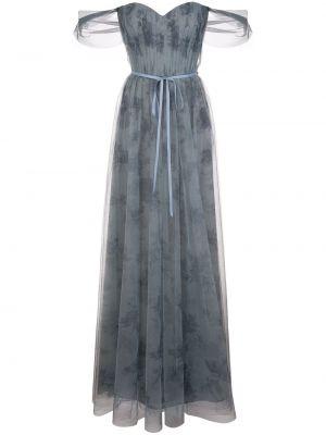 Платье в цветочный принт - синее Marchesa Notte