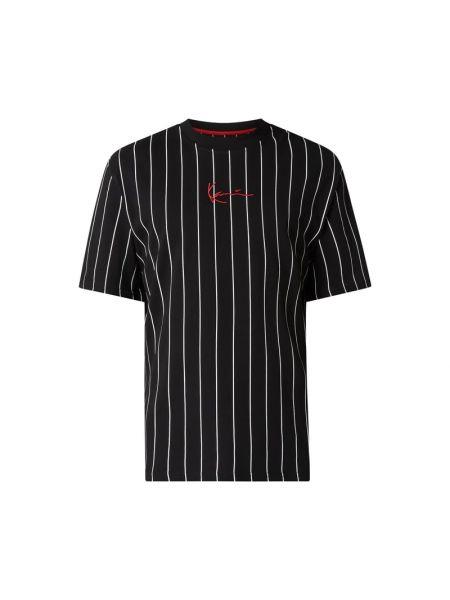 Czarny t-shirt w paski bawełniany Karl Kani