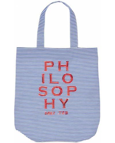 Biała torebka w paski z cekinami Philosophy Di Lorenzo Serafini