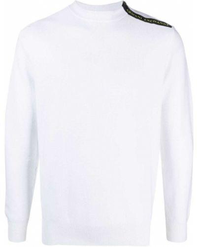 Biały pulower z długimi rękawami bawełniany Armani Exchange