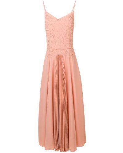 Розовое платье миди на бретелях на молнии Noon By Noor