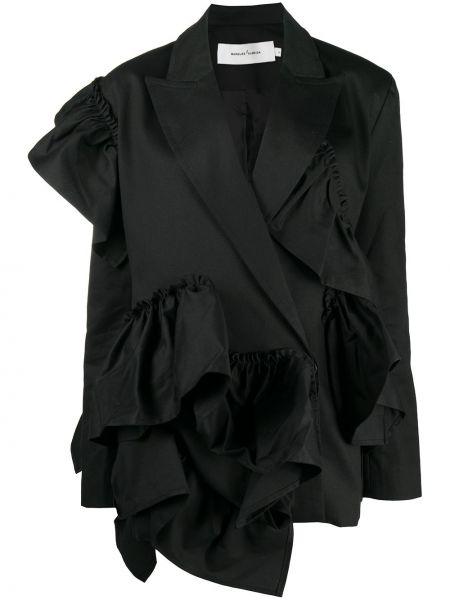 Хлопковый черный удлиненный пиджак с лацканами Marques'almeida