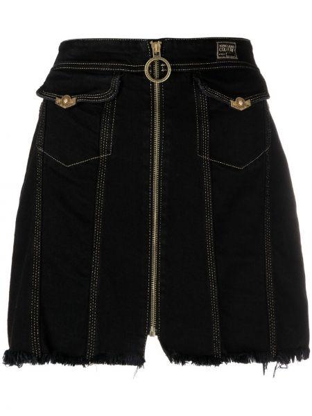 Хлопковая с завышенной талией черная джинсовая юбка Versace Jeans Couture
