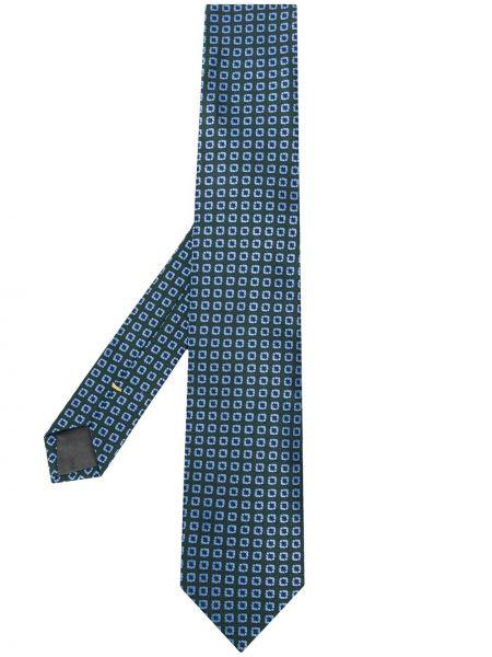 Шелковый синий галстук с подкладкой Canali