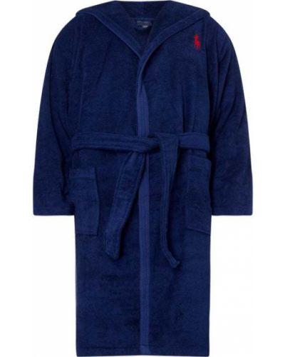 Niebieski szlafrok bawełniany z kapturem Ralph Lauren