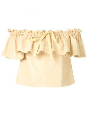 Блузка с коротким рукавом с рюшами батник Andrea Bogosian