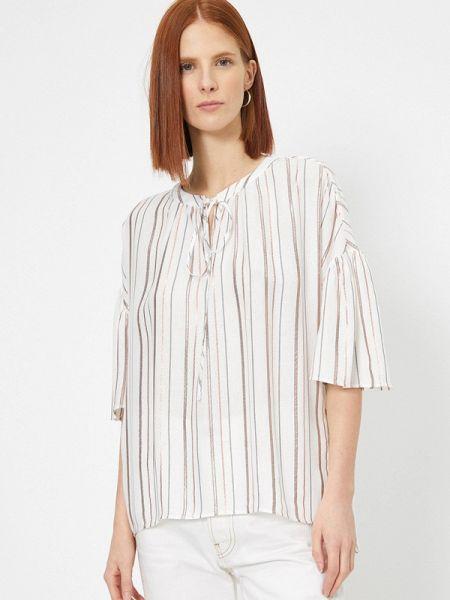 С рукавами белая блузка с длинным рукавом Koton